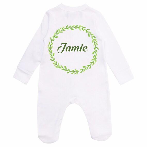 Personnalisé Bébé Sleepsuit//Baby Grow brodé vêtements Cadeau Né En 2019 nom