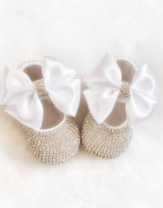 8e138e2846b06 Handmade Swarovski Crystals Cute Baby Shoes in White/ Luxury Baby Gift  /Gifts for Baby Girl /Christmas Baby Gift /Christening Baby Shoes
