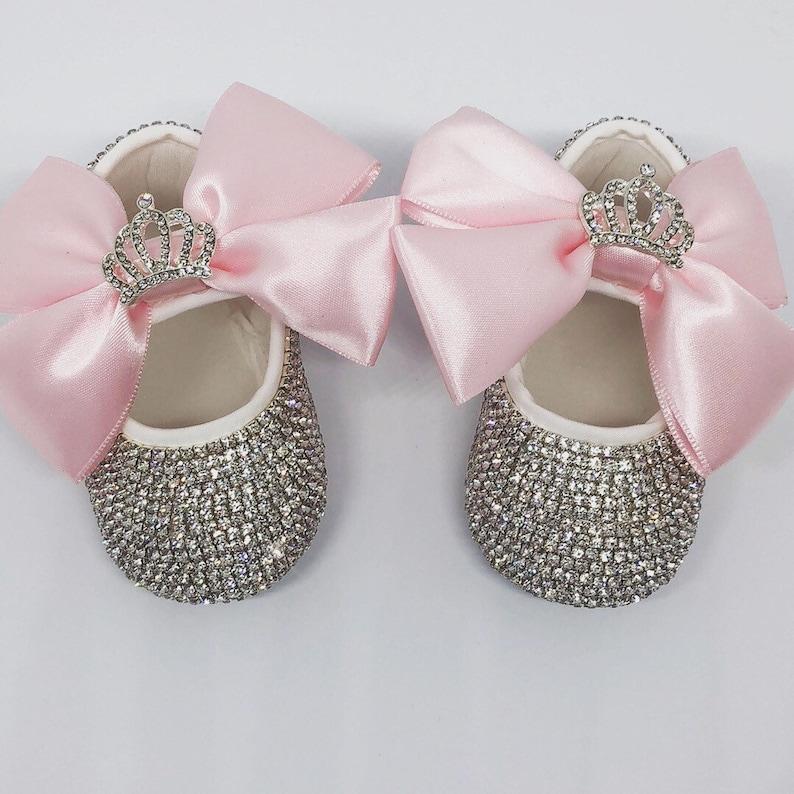 62500d594 Handmade Swarovski Crystals Crown Pink Baby Shoes / Luxury | Etsy