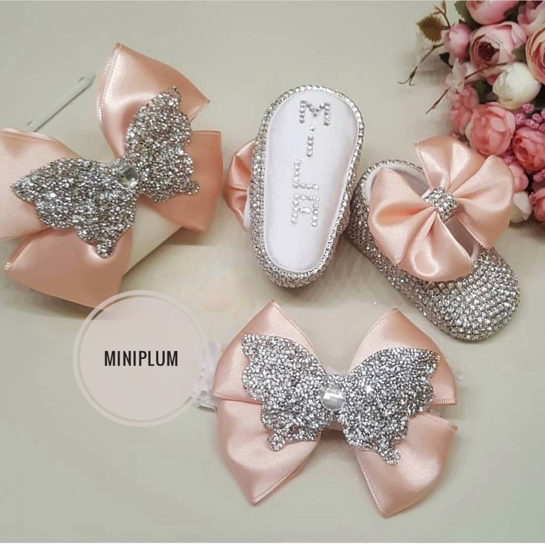 0194d52c86d403 Handmade 2 piece Swarovski Crystals Cute Bling Baby Shoes and