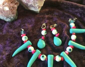 Spiked Howlite And Glass Eyeballs Bracelet + Clip On Earrings Set