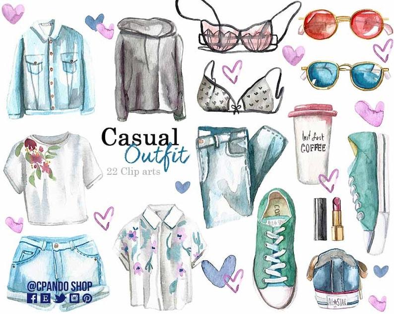 Outfit Moda Pintado En Casual AcuarelaEtsy P0w8Okn
