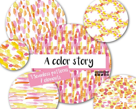 Hand Painted Watercolor Paper Pink And Yellow Abstract Pattern Seamless Patterns A Color Story Digital Papers And Individual Elements Art Collectibles Clip Art