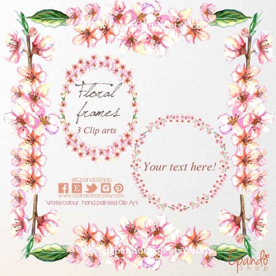 Marco de fotos digital marco flores acuarela clipart marco   Etsy