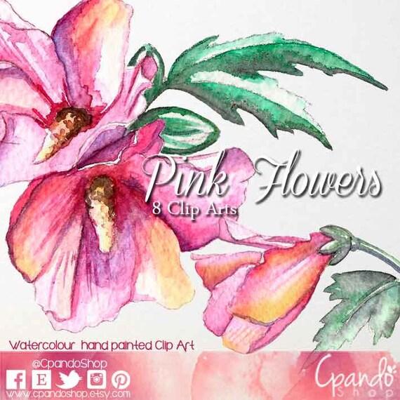 Pink Flowers Watercolor Clip Art Png Frames Background For Invitations Wedding Vintage Spring Romantic Graphics Babyshower Art