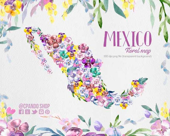 Mexico Map - Mexico Clipart - Usa Map Png - mexican wedding, flower map,  watercolor usa map wedding invitation map