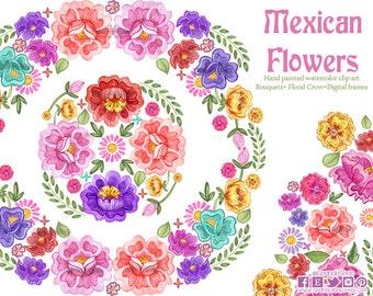 Fiesta Digital Clipart, Spanish Mexican Clipart, Mexican florals Graphics, Cinco de Mayo Graphics, watercolor Clip art, Fiesta Clip Art