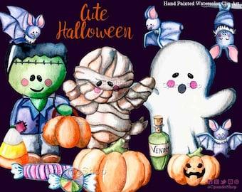 Cute Halloween Clipart - watercolor halloween clip art, halloween party diy, halloween illustration, printable halloween