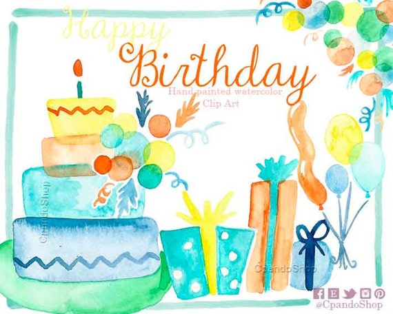 Happy Birthday Cake Clip Art Birthday Gift Clip Art Ballons Etsy