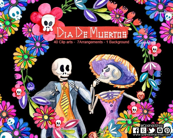 DIA De Los MUERTOS Digital Clipart Instant Download