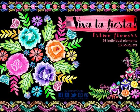 Flores Bordados Istmo Flores Mexicanas Para Invitaciones De Etsy