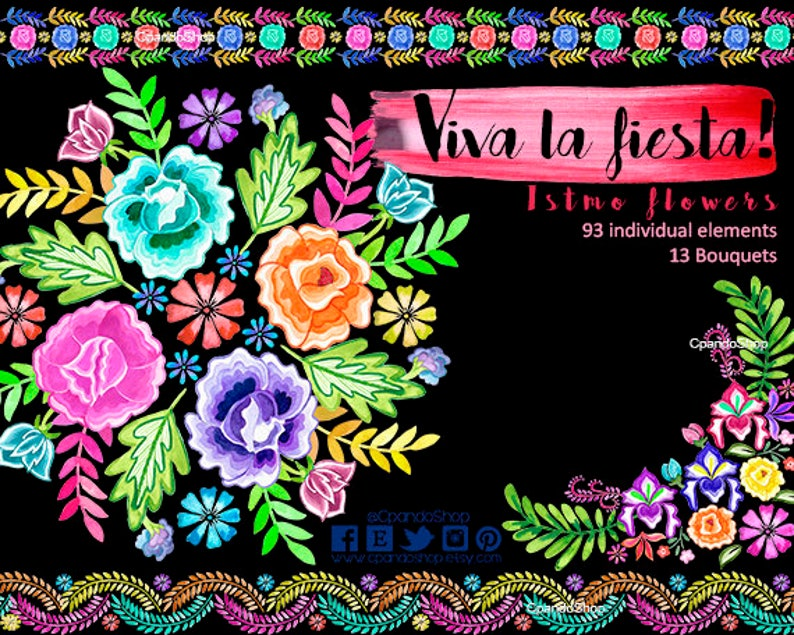 6c50be7b63 Mexican Flowers Watercolor Flowers Fiesta Mexicana Clipart