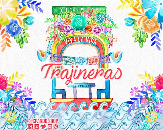 trajineras xochimilco cinco de mayo mexican fiesta etsy