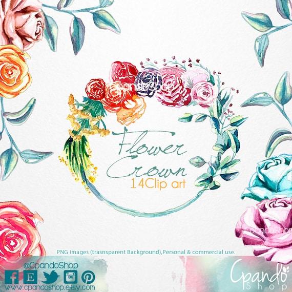 Corona de flores 14 imagenes png con fondo transparente | Etsy