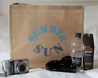 Personalised Large Jute Beach Bag 'Summer Sun' in blue and purple