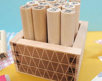 Stamp Box,Japanese Masu box, masu, wood box, Japanese wood box, masu wood box, trainlge