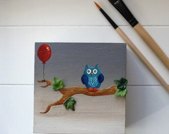 Wooden owl  box , box jewelry , box treasure , gift for her , gift for him , box blue , box of secrets , storage