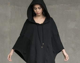 BOA HOODED PONCHO - Black knitted Poncho - Poncho with hood - Black Hoodie - Haus of Sparrow - Maker: Monica Wallway