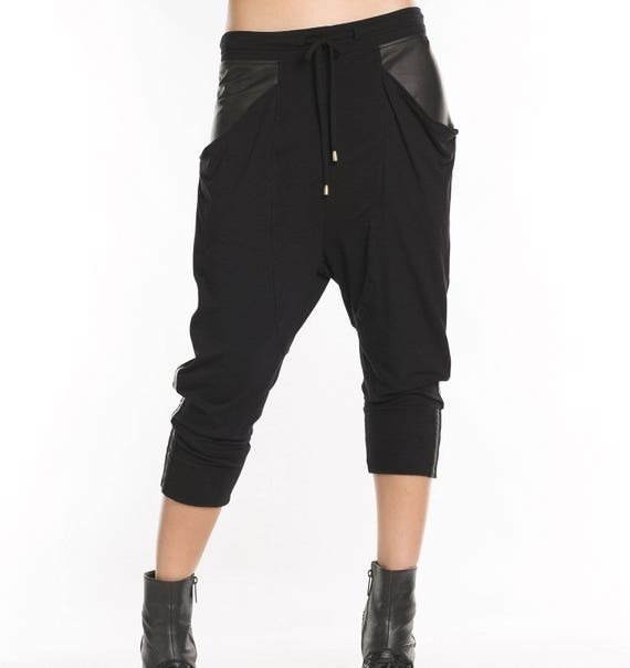 Black drop crotch leather pantswoman drop crotch pantsblack drop crotch Pants