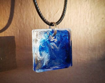 Blue Waves Square Pendant