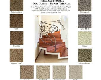 "Set of 13 | 9""x27"" Dog Assist Stair Treads - HIDDEN TRAIL Carpet 40 Oz Tufted Pinpoint Saxony Nylon (Free Roll Tape - DIY Installation)"