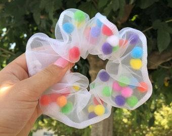 Rainbow Pom Pom Hair Scrunchie   Unique Hair Scrunchy   Pride   Bright Colours   Gift For Her   Stocking Filler   Handmade