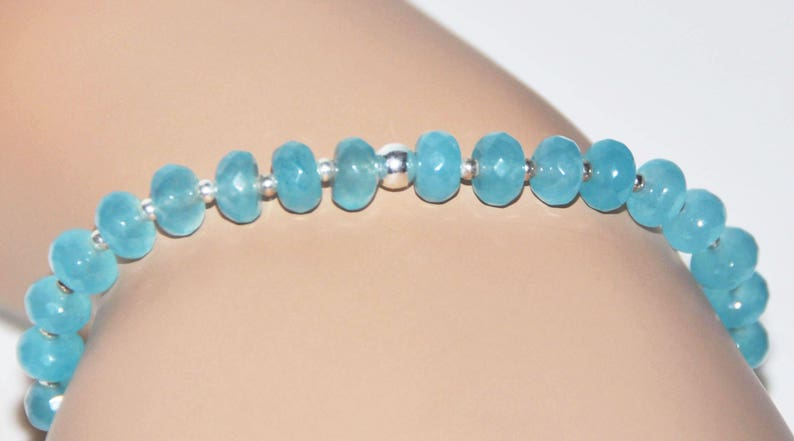 Aquamarine Sterling Silver Stretch Bracelet Confidence Inspiration Bracelet March Birthstone Jewelry Relaxation Empowerment Bracelet