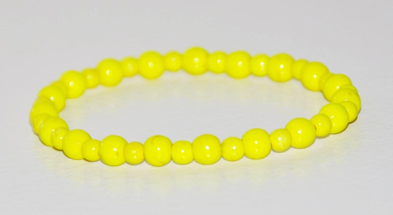 Bright Yellow Howlite Elastic Stack Bracelet Relaxation Gift Motivation Jewelry Worry Stone Anxiety Relief Meditation Calming Bracelet