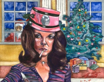 Tales From The Crypt Joan Collins Art Original Horror Art Watercolor Painting