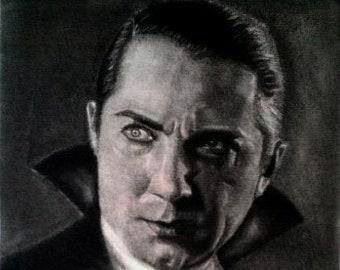Universal Monsters / Bela Lugosi / Count Dracula / Dracula / Bela Lugosi as Count Dracula Charcoal Drawing Art / Classic Monster Art /