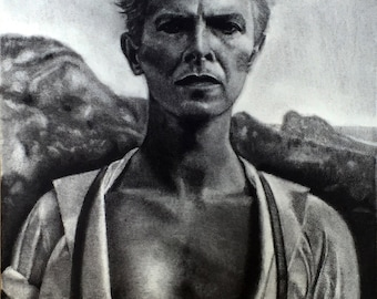 David Bowie Charcoal Portrait Drawing Limited Edition Fine Art Print by Robert Burcar