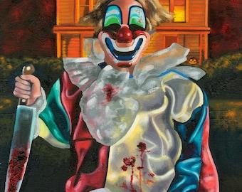 Halloween/ Michael Myers/ Fine Art Print / Young Michael Myers / Clown/ The Shape / Horror Art /