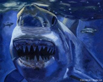 Jaws Great White Shark Original Oil Painting by Robert Burcar