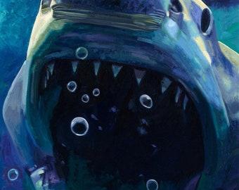 Great White Shark / Shark / Shark Art / Fine Art Print / Jaws / Wildlife / Shark Painting / Sea Fish / Fish
