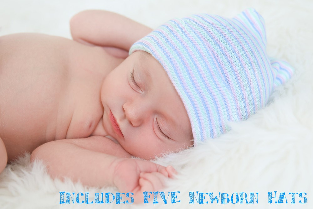 2106a2a2f825 FIVE Newborn Baby Hospital Hats Includes FIVE Baby Beanies