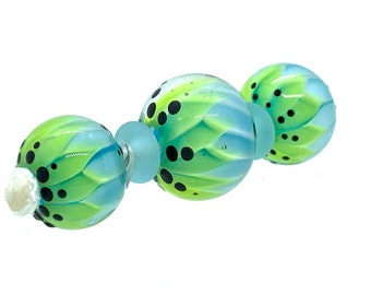Handmade Glass Beads/Set of Blue and Green Glass Beads/Lampwork Glass Beads/Jewellery Supplies