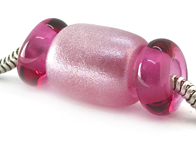 Lampwork Glass BeadsSet of 3 Big Hole BeadsFrosted Light Fuchsia Handmade Beads