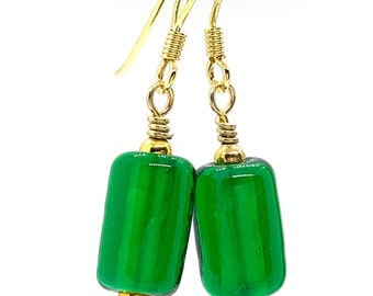 Beaded Earrings with Small Green Barrel Beads and Gold Vermeil Findings/Lampwork Glass Beaded Earrings