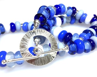 Handmade Glass Beaded Necklace/Blue Handmade Glass Beads with Handmade Sterling Silver Clasp