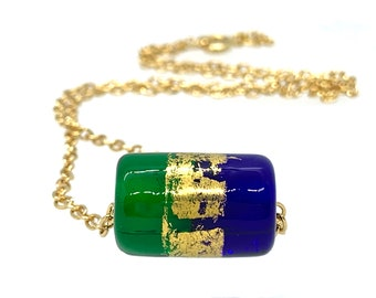 Handmade Blue and green Glass Bead with Gold Foil/Lampwork glass beaded necklace