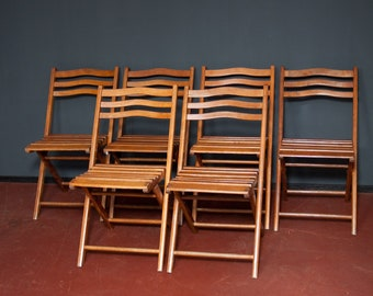 6 x Wooden Chairs Folding Chairs Chair Set 40s