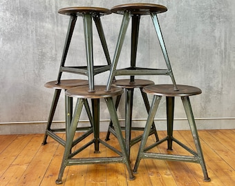 Set of 6 Rowac Stool 50 Height Workshop Stool 3 Leg Industrial Stool Atelier