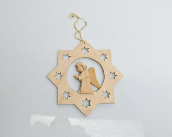 Wooden star with singing angel star window decoration snowflake Ore Mountains