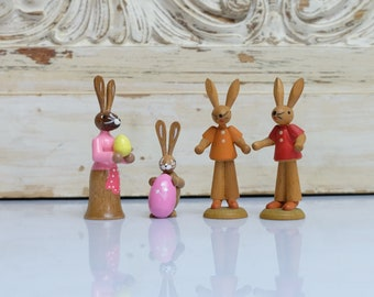 Easter Bunny Pair of Figures Bunnies from the 80s Handmade Ore Mountains GDR 2