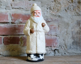 Cardboard Santa Claus Embossing Cardboard Candy Container Santa Claus Nikolaus fillable white 3