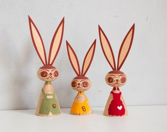 Easter Bunny Group Figures Orchestra from the 70s Handmade Ore Mountains GDR 2