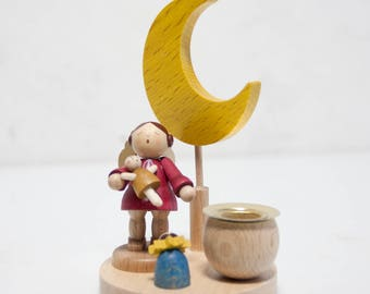 little light angel with doll wooden figure Ore Mountains
