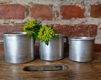 3 Alu cups bespoke cup container cans jars old upcycled industrial vase pins box 2