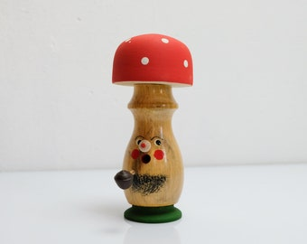 Smoker Smoker Wooden Figure Mushroom Figure Ore Mountains GDR