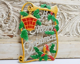 Embossed Christmas A Merry Christmas Christmas Decoration Ore Mountains 02